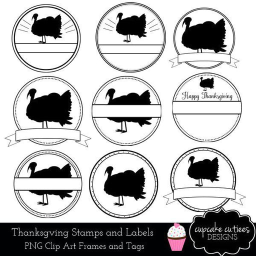Thanksgiving Turkey Circle Labels and Stamps Clip Art Designs  Cupcake Cutiees    Mygrafico