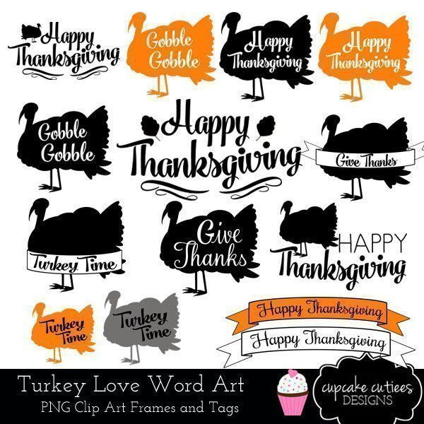 Turkey Love Word Art Clip Art Elements  Cupcake Cutiees    Mygrafico