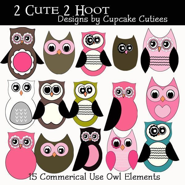 2 Cute 2 Hoot Owl Elements Cliparts Cupcake Cutiees    Mygrafico
