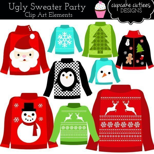 Ugly Christmas Sweaters Digital Clip Art  Cupcake Cutiees    Mygrafico