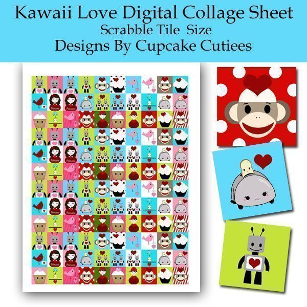 Kawaii Valentine Digital Collage Printable Sheet Scrabble Size Printable Templates Cupcake Cutiees    Mygrafico