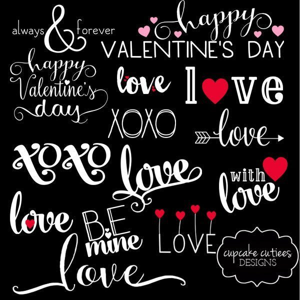Valentine Word Clip Art Overlays Elements Cliparts Cupcake Cutiees    Mygrafico