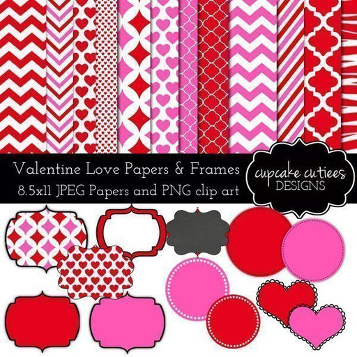 Valentine Love Digital Paper Pack and Frames  Cupcake Cutiees    Mygrafico