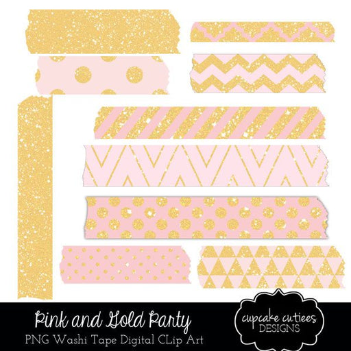Pink and Gold Washi Digital Tape clipart Cupcake Cutiees    Mygrafico