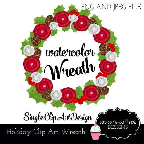 Christmas WaterColor Digital Wreath Clip Art  Cupcake Cutiees    Mygrafico