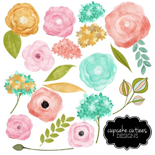 Watercolor Flowers- Vintage Blue Coral and Gold Digital Clip Art Set