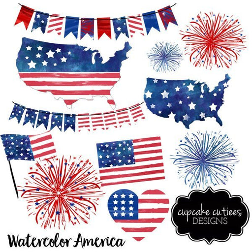 watercolor america red white and blue digital clip art set