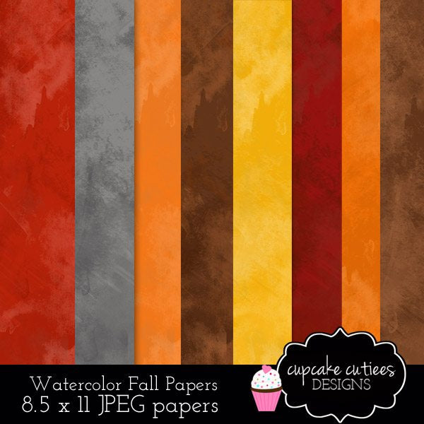 Autumn Watercolor Paper Digital Pack  Cupcake Cutiees    Mygrafico