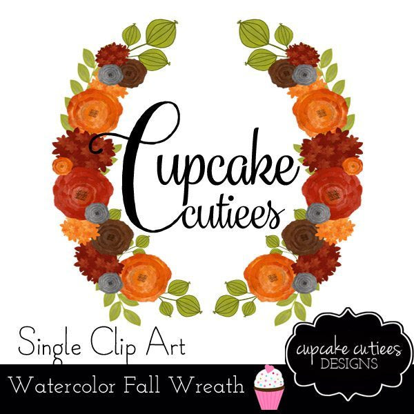 Autumn Watercolor Flower Single Wreath Digital Clip Art  Cupcake Cutiees    Mygrafico