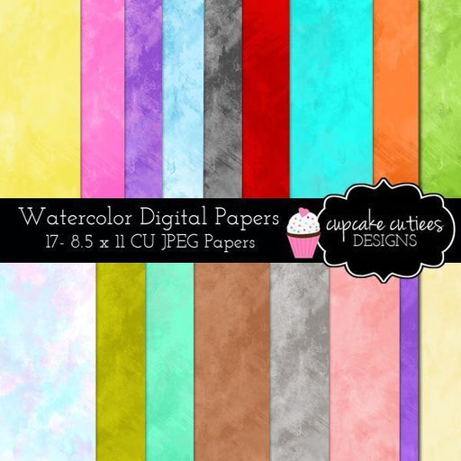 Watercolor Digital Paper Pack  Cupcake Cutiees    Mygrafico