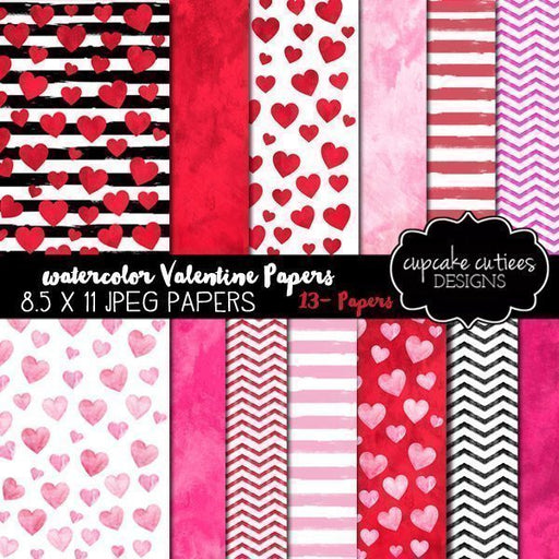 Valentine Watercolor Digital Paper Set  Cupcake Cutiees    Mygrafico