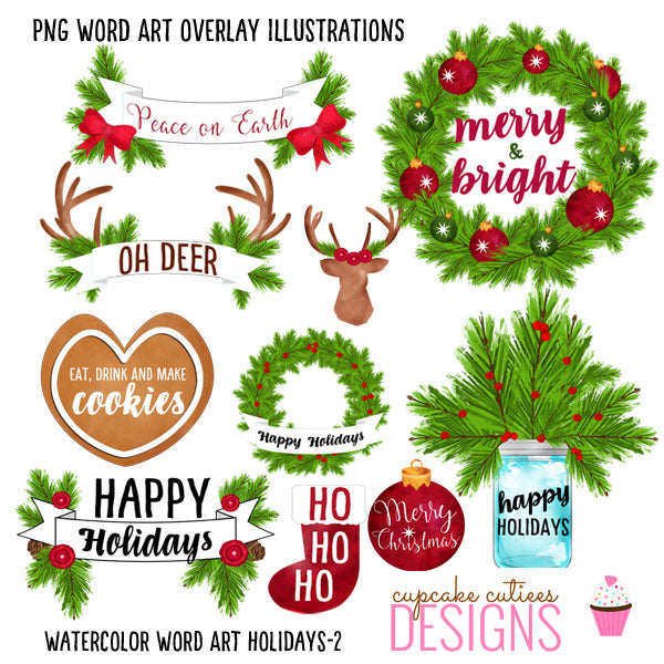 Christmas Watercolor Word Art- Digital Water Color Illustration Overlays Clipart Cupcake Cutiees    Mygrafico