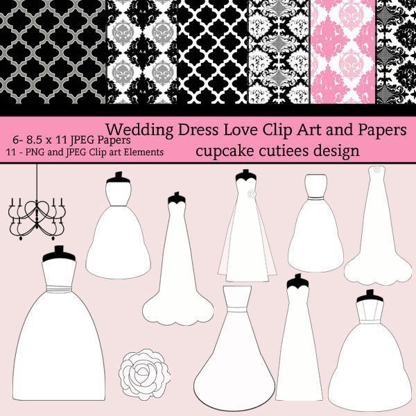 Wedding Dress Love Paper Set  Cupcake Cutiees    Mygrafico