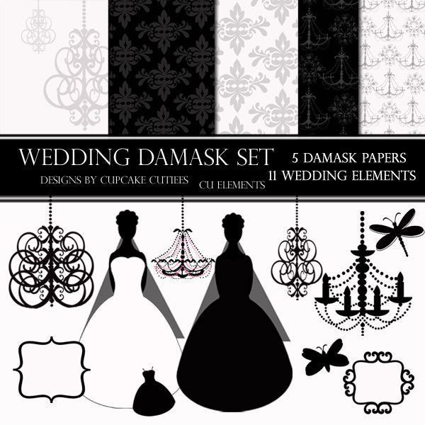 Wedding Damask Paper and Element Set  Cupcake Cutiees    Mygrafico
