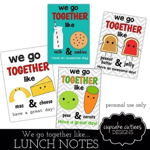 We Go Together Digital Lunch Box Notes  Cupcake Cutiees    Mygrafico