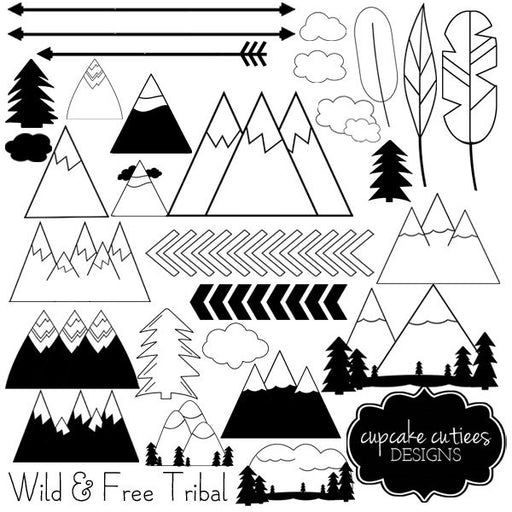 Wild and Free Digital - Tribal Brave Mountain Digital Clip Art  Cupcake Cutiees    Mygrafico