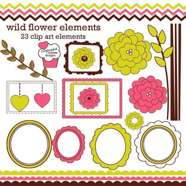 Wild Flower Elements  Cupcake Cutiees    Mygrafico