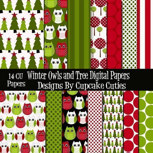 Winter Owls N Trees Papers  Cupcake Cutiees    Mygrafico