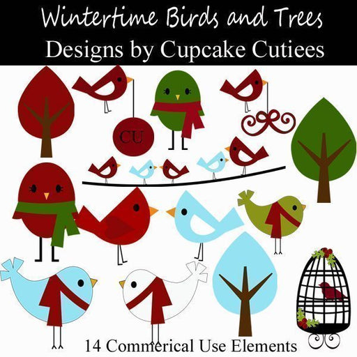 Wintertime Birds and Trees  Cupcake Cutiees    Mygrafico