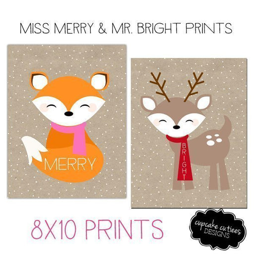 Merry & Bright Woodland Animal Art Print 8x10 Printable Templates Cupcake Cutiees    Mygrafico