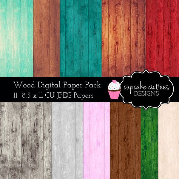Wood Rustic Digital Papers  Cupcake Cutiees    Mygrafico