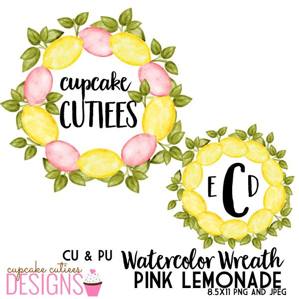 Pink Lemonade Watercolor Wreath - Digital Single Clip Art Element  Cupcake Cutiees    Mygrafico