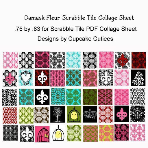 Damask Fleur Scrabble Tile Digital Collage Sheet  Cupcake Cutiees    Mygrafico