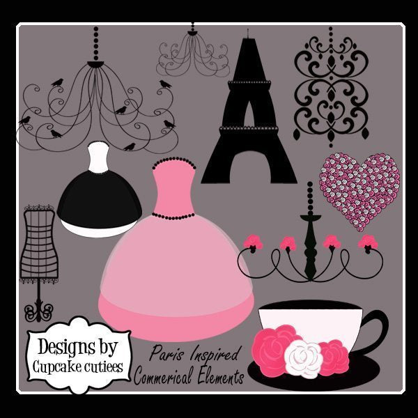 French Inspired Elements  Cupcake Cutiees    Mygrafico
