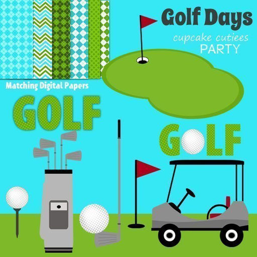 Golf Days Digital Clip Art and Paper Set  Cupcake Cutiees    Mygrafico