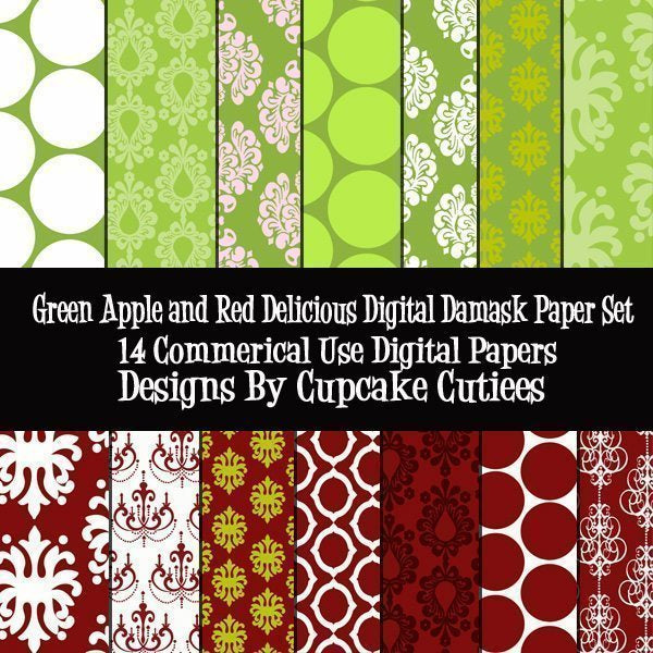 Green Apple and Red Delicious Damask Paper  Cupcake Cutiees    Mygrafico