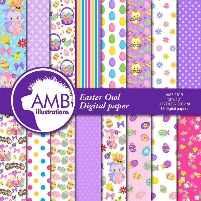 Chocolate Easter Owl Papers, Easter egg Paper, Scrapbook Paper Patterns, polka dots paper, Commercial Use, AMB-1819 Digital Paper & Backgrounds AMBillustrations    Mygrafico