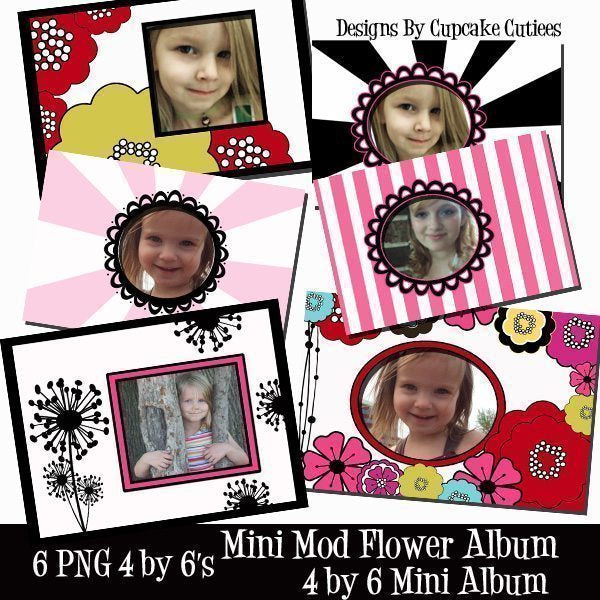 Mini Mod Flower Digital Cards Printable Templates Cupcake Cutiees    Mygrafico