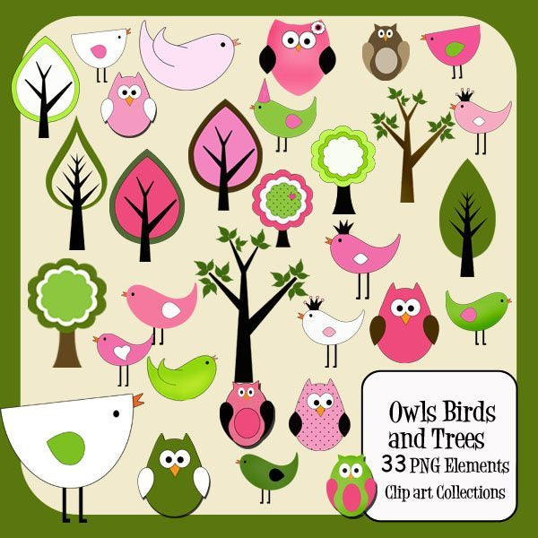 Owls Birds and Trees Elements  Cupcake Cutiees    Mygrafico
