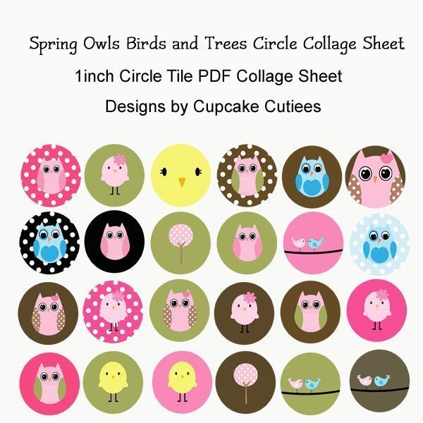Spring Owls Birds and Trees Circle Digital Collage Sheet  Cupcake Cutiees    Mygrafico