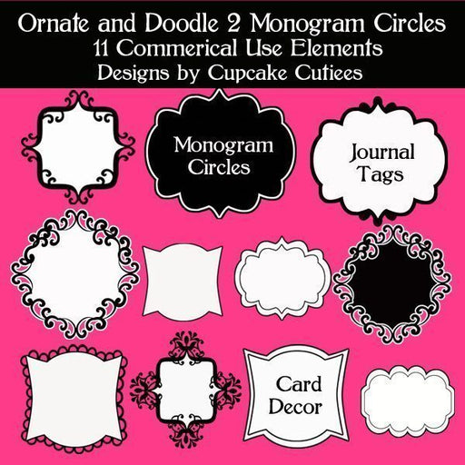 Ornate and Doodle Two Monogram Circles  Cupcake Cutiees    Mygrafico