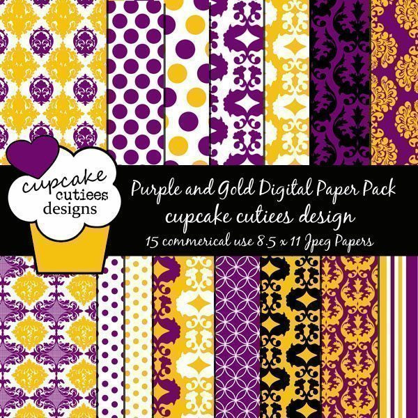Purple and Gold Damask  Cupcake Cutiees    Mygrafico