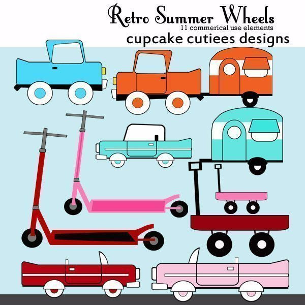 Retro Summer Wheels  Cupcake Cutiees    Mygrafico