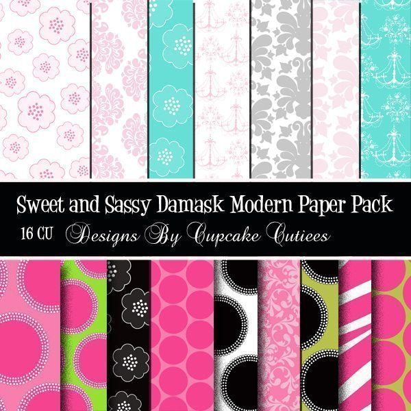 Sweet and Sassy Damask Papers  Cupcake Cutiees    Mygrafico