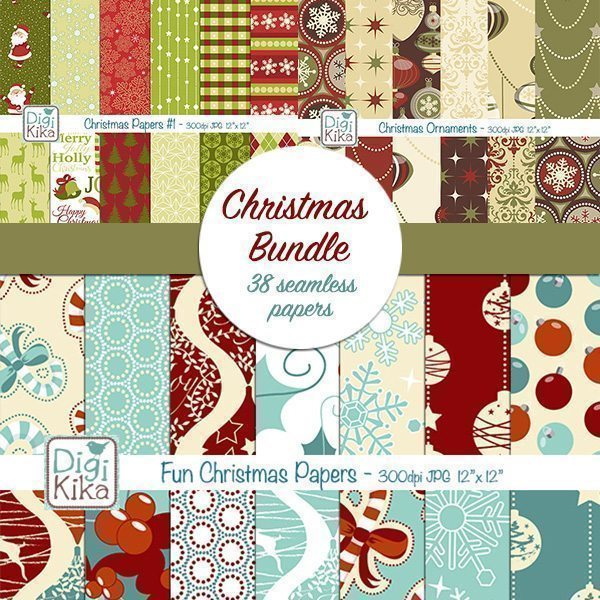 Christmas Papers Bundle  Kika Digital    Mygrafico