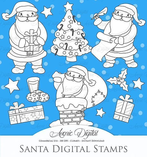 Christmas Santa Digital Stamps  Avenie Digital    Mygrafico