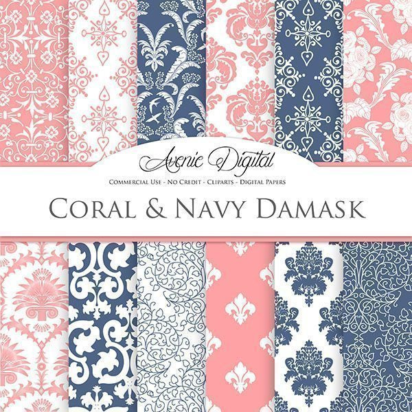 Coral and Navy Damask Digital Paper  Avenie Digital    Mygrafico