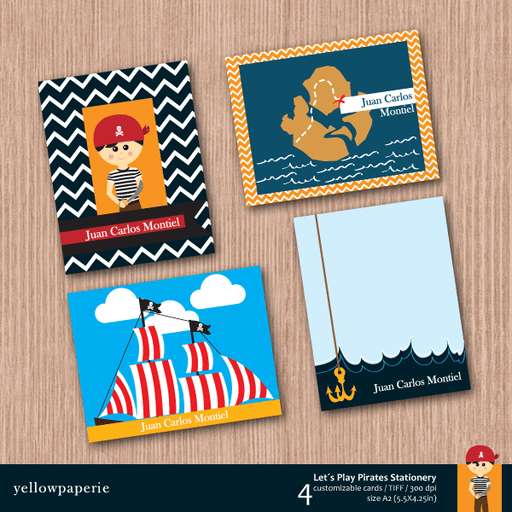 Let's Play Pirates Stationery  Yellowpaperie    Mygrafico