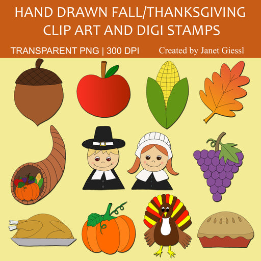 Fall/Thanksgiving Clip Art and Digi Stamps Clipart Janet's Digital Designs    Mygrafico