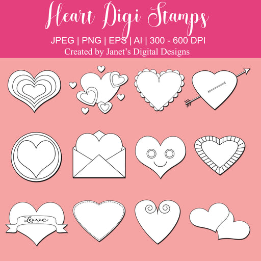 Heart Digi Stamps - Set of 12 Digital Stamps Janet's Digital Designs    Mygrafico
