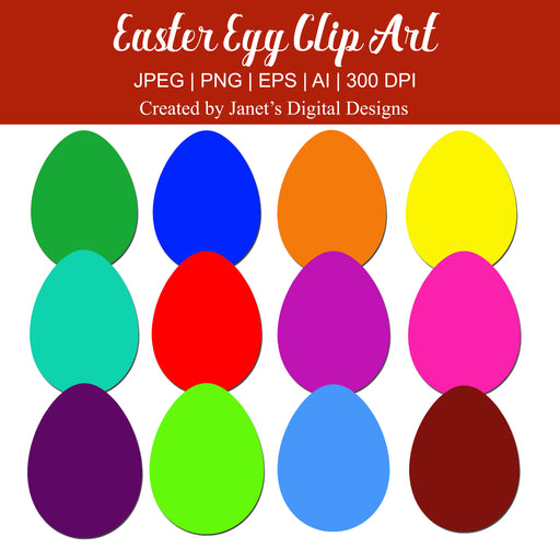 Colorful Easter Egg Clip Art - Set of 12 Clipart Janet's Digital Designs    Mygrafico