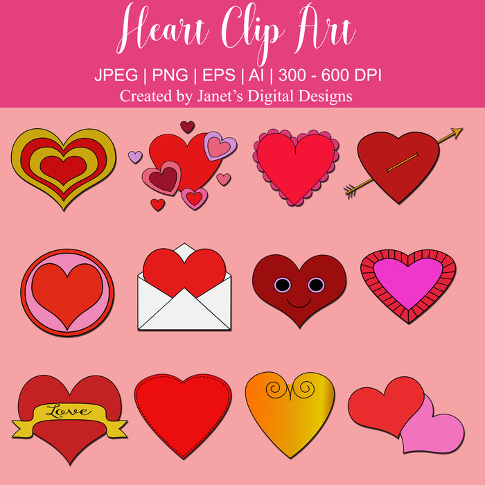 Heart Clip Art - Set of 12 Clipart Janet's Digital Designs    Mygrafico