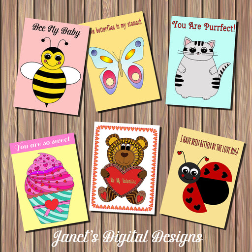 Valentine's Day Printable Cards Party Printable Templates Janet's Digital Designs    Mygrafico