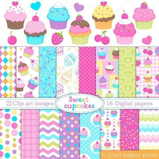 Sweet Cupcakes Clipart & Digital Paper Set