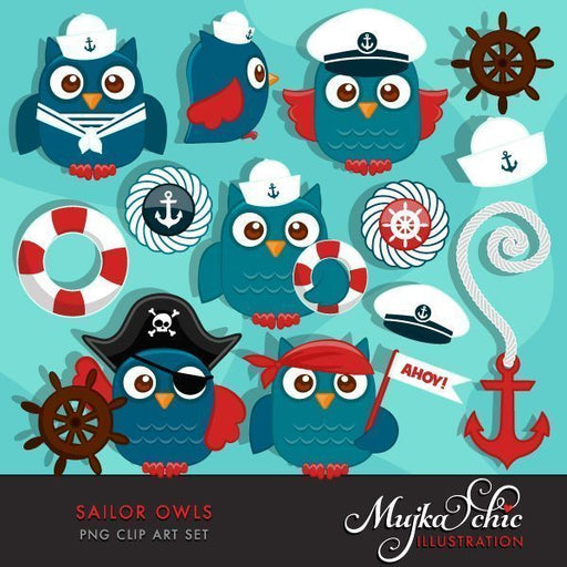 Cute Sailor Owls Clipart