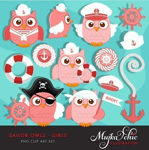 Cute Sailor Owls Girls Clipart